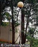 Poste de iluminação em aço com globo de vidro opaco